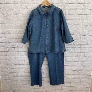 VINTAGE Plus Size Jeans & Jean Denim Shirt Set